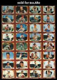 1955 Bowman Baseball Uncut 32-Card Sheet with #202 Mantle