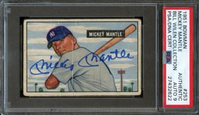 1951 Bowman Baseball #253 Mickey Mantle Rookie Signed Card – PSA/DNA Authentic Auto 9