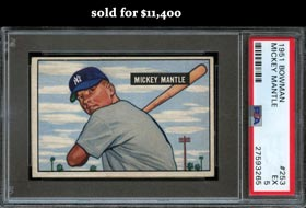 1951 Bowman Baseball #253 Mickey Mantle Rookie PSA EX 5