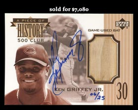 2004 Upper Deck A Piece of History 500 Club Ken Griffey Jr. Certified Bat/Auto Card #6/25