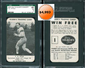 1949 Silbers Bakery Football Card Y.A. Tittle SGC 40 RARE