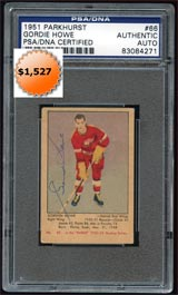 1951-52 Parkhurst #66 Gordie Howe Signed PSA/DNA Rookie Card