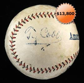 Ty Cobb Single-Signed 1920-1924 OAL Johnson Baseball - Full JSA