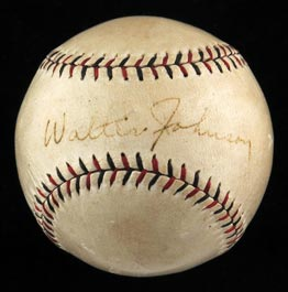 Walter Johnson Single-Signed 1919-1924 ONL Heydler Baseball - Full JSA