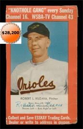 1955 Esskay Hot Dogs Baseball Card Bob Kuzava