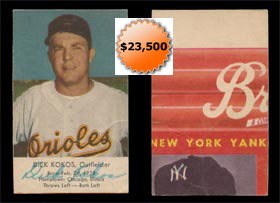 1954 Briggs Mickey Mantle Image on Reverse of 1954 Esskay Baseball card of Dick Kokos