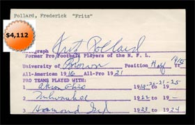 Fritz Pollard Signed Autographed Index Card