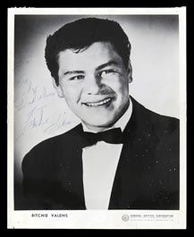 Richie Valens Autographed 8x10 Publicity Photo with Full JSA