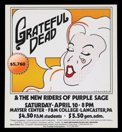 Rare 1971 Grateful Dead/NRPS Original Concert Poster at Lancaster, PA