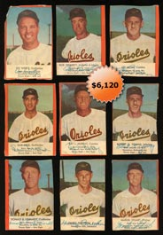 1954 Esskay Hot Dogs Baltimore Orioles Near Set of (30/34) Cards