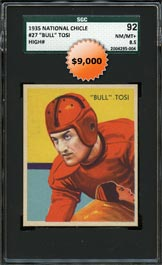 1935 National Chicle Football #27 Bull Tosi High Number SGC 92 NM-MT+ 8.5 - Highest Graded by Any Service!