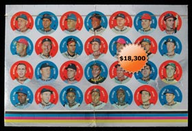 1968 Topps Baseball Discs Test Complete Set (28/28) on Uncut Sheet