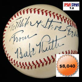 Babe Ruth Single-Signed Autograph OAL Harridge Baseball - PSA/DNA NM 7