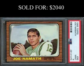 1966 Topps Football #96 Joe Namath PSA Mint 9