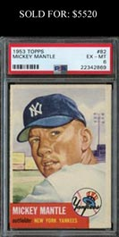 1953 Topps Baseball #82 Mickey Mantle PSA EX-MT 6