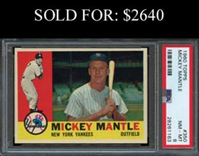 1960 Topps Baseball #350 Mickey Mantle PSA NM-MT 8