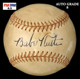 Babe Ruth Single-Signed Autographed Baseball - PSA/DNA Autograph Grade 8