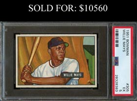 1951 Bowman Baseball #305 Willie Mays Rookie - PSA EX 5