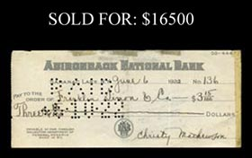 Christy Mathewson 1922 Boldly Signed Check - Full JSA
