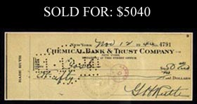 Babe Ruth Signed 1940 Check - Gorgeous Signature! Full JSA