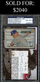2015 Historic Autographs Casey's Juggernaut 1951 Bowman Baseball #253 Mickey Mantle Rookie with Autograph - PSA Slabbed