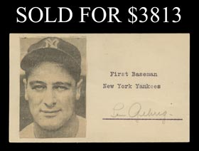 Lou Gehrig Signed Index Card - Full JSA LOA
