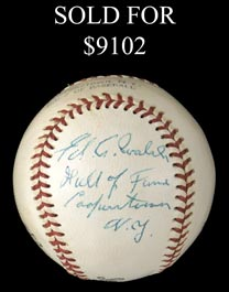 Spectacular 1950s Ed A. Walsh Single Signed and Inscribed Cooperstown Baseball - Full JSA LOA
