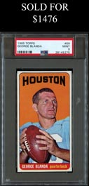 1965 Topps Football #69 George Blanda Shortprint PSA Mint 9 - Pop 4 with None Higher!