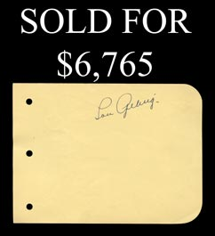 Lou Gehrig Single-Signed Album Page With Full JSA - Gorgeous Signature!