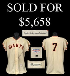 Red Schoendienst Signed Game-Worn 1957 New York Giants Home Jersey