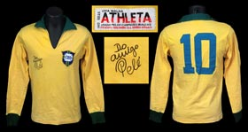 Pele Signed Match-Worn 1960s Brazilian National Team Shirt with Provenance and PSA/DNA