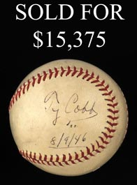 Ty Cobb Single-Signed Baseball With