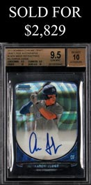 2013 Bowman Chrome Draft Pick Aaron Judge Black Wave Refractors Certified Autograph Rookie #47/50 - BGS 9.5/Auto 10 with (2)