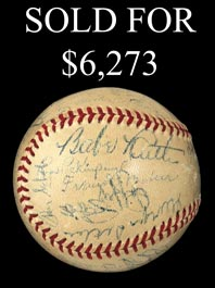 Circa-1946 Multi-Signed Yankee Stadium Reunion Ball With Ruth, Cobb, Speaker, Foxx and C. Young - Full JSA