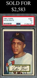 1952 Topps Baseball #261 Willie Mays - PSA EX 5