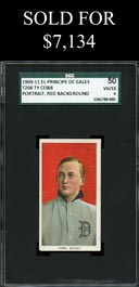 1909-11 T206 White Borders Ty Cobb (Red Portrait) with El Principe De Gales Back - SGC 50 VG-EX 4