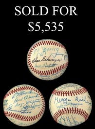 1955 Hall of Fame Induction Signed Ball (19 Signatures) Including Young, Foxx, Vance, Clarke and DiMaggio