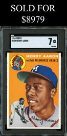 1954 Topps Baseball #128 Henry Aaron Rookie from Baltimore Find - SGC 7 NM