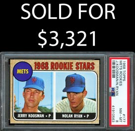 1968 Topps Baseball #177 Nolan Ryan Rookie - PSA NM-MT 8