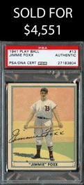 1941 Play Ball #13 Jimmie Foxx Signed Card - PSA/DNA Authentic