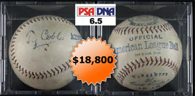 Ty Cobb Single-Signed Autographed Baseball PSA/DNA 6.5