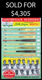 1967 Louisville Slugger Little League Promotional Poster With Mantle, Clemente and Aaron - Rare!