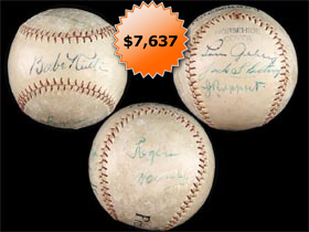 1928 Baseball Signed Autographed by Six With Babe Ruth, Jacob Ruppert, Lou Gehrig, Rogers Hornsby