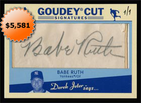 2008 Upper Deck Goudey Babe Ruth Cut Autograph Baseball Card 1 of 1