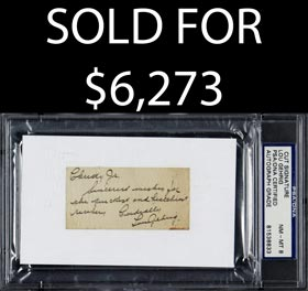 Lou Gehrig Cut Signature and Note to Christy Walsh, Jr. - PSA/DNA 8