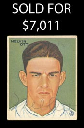 Signed 1933 Goudey Baseball #127 Mel Ott Card with Full JSA