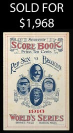 1916 World Series Program Boston Red Sox vs. Brooklyn Robins