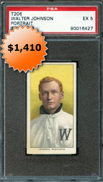 1909-11 T206 White Border Baseball Tobacco Card Walter Johnson Portrait PSA EX 5