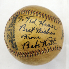 Remarkable Single Signed and Dated Babe Ruth Ball
