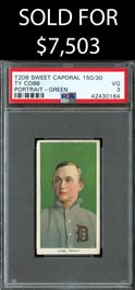 1909-11 T206 White Borders Ty Cobb (Green Portrait) - PSA VG 3